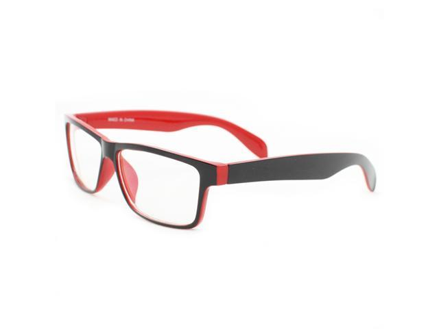 Rectangle Fashion Sunglasses P2133 Black with Red Frame Clear Lens for Women and Men (can be optical frame)