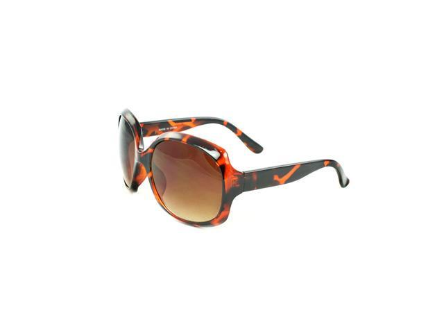 Round Fashion Sunglasses Brown Python Design with Amber Gradient Lenses for Women