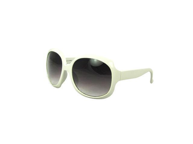 Round Fashion Sunglasses Solid White with Purple Black Gradient Lenses for Women