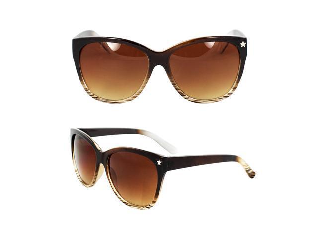 MLC Eyewear Wayfarer Fashion Fashion Sunglasses Brown and White 2tone Frame Amber Gradient Lenses for Women and Men