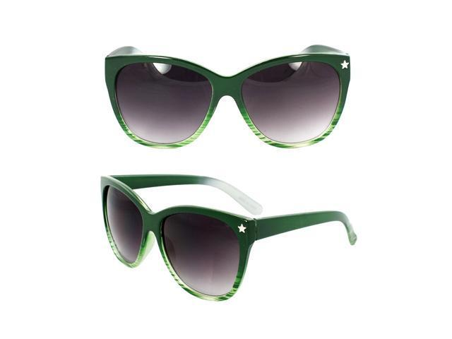MLC Eyewear Wayfarer Fashion Fashion Sunglasses Green and White 2tone Frame Purple Black Lenses for Women and Men