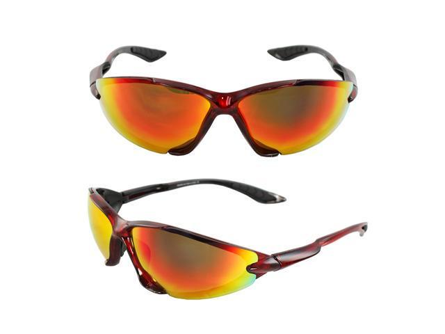 MLC Eyewear TR90 Wrap Fashion Sunglasses Red Semi-Rimless Frame Rainbow Mirror Lenses with Comfortable Rubber Cushion Pad.