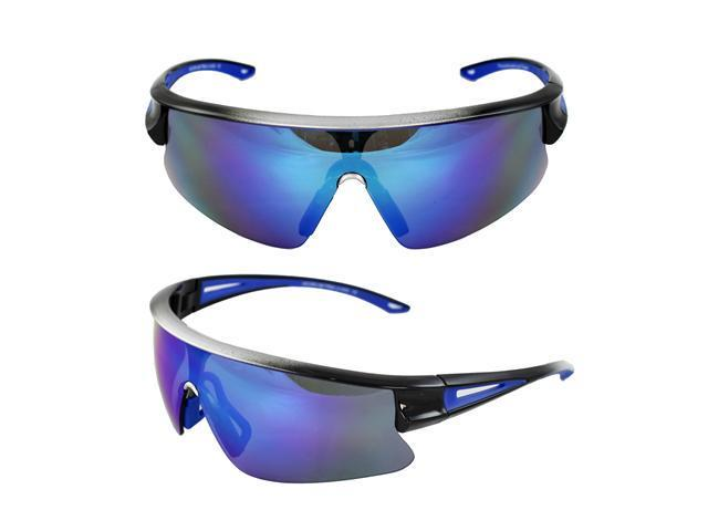 MLC Eyewear TR90 Sporty Wrap Sunglasses Silver Black 2tone Semi-Rimless Frame Blue Lenses with Comfortable Rubber Cushion Pad.