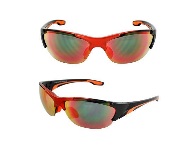MLC Eyewear TR90 Wrap Sunglasses Orange Black 2tone Semi-Rimless Frame Rainbow Lenses with Comfortable Rubber Cushion Pad.