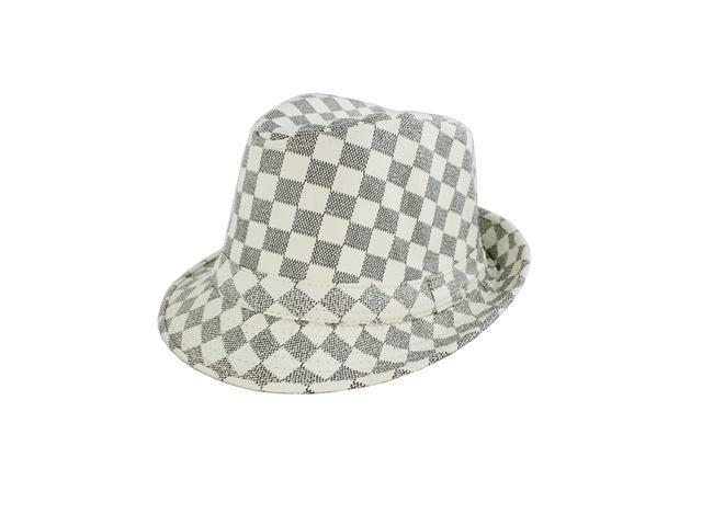 Faddism Fashion Fedora Hat Features White and Gray Plaid Design