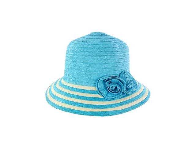 Fashionable Women Summer Straw Hat Floral Accent Adds Style Blue Design