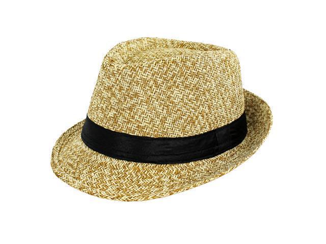 Faddism Fashion Fedora Hat in Tan Design with Black Rubbon