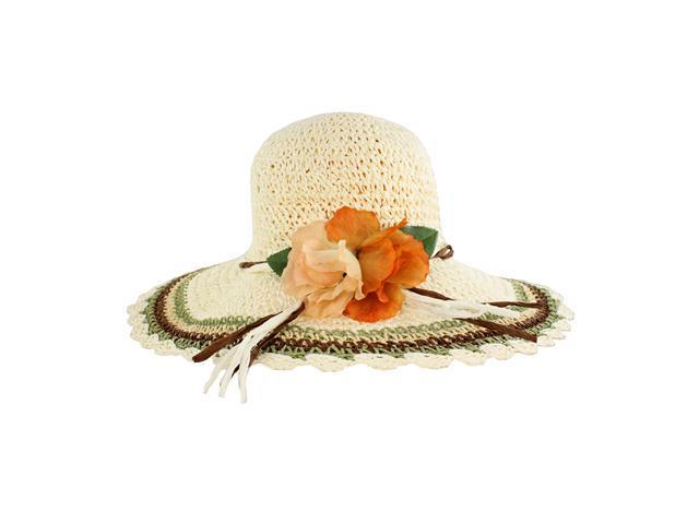 Fashionable Wide Brim Ladies Summer Straw Hat Floral Accent Adds Style White Design