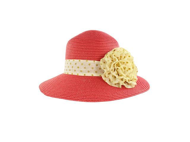 Faddism Stylish Women Summer Straw Hat Red Design with Beige Floral Ornament