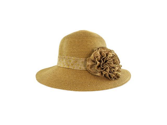 Faddism Stylish Women Summer Straw Hat Tan Design with Tan Floral Ornament