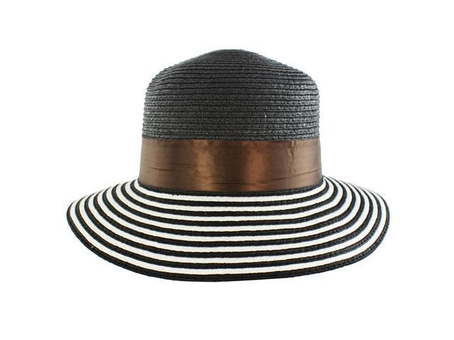 Faddism Stylish Women Summer Straw Hat Black Design with Brown Floral Ornament