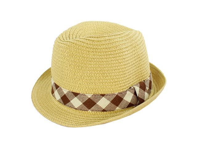Faddism Fashion Fedora Hat in Beige Design with Plaid Band for Men and Women