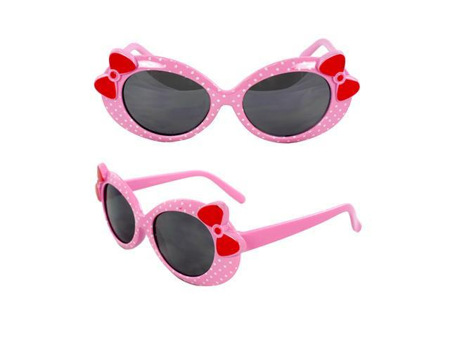 MLC Eyewear K0208-PKSM Kids Oval Sunglasses Pink Frame with Polka Dot Smoke Lenses Design with 3D Bow Tie.