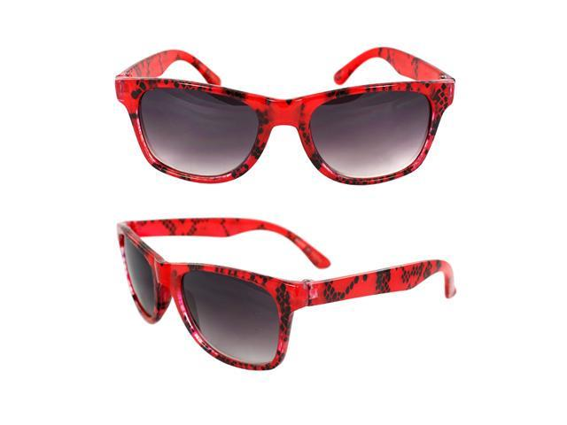 MLC Eyewear K3115-RDPB Kids Oval Sunglasses Red Frame with Black Shatter Design Purple Black Lenses.