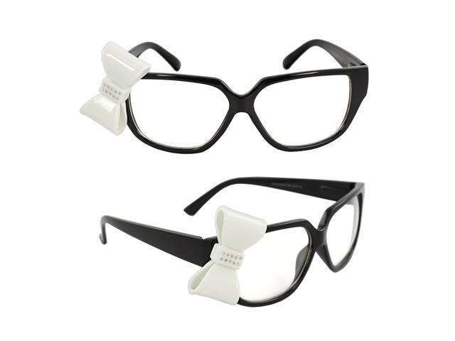 MLC Eyewear W494BOWRH-BKWHTCL Wayfarer Fashion Sunglasses Black Frame Clear Lenses Design with 3D White Bow Tie.