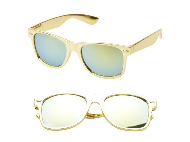 MLC Eyewear Wayfarer Fashion Sunglasses in Gold Frame Gold ...