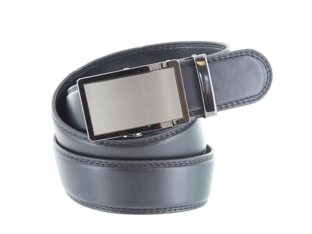 Faddism Men's Genuine Leather Belt with Gun Metal Buckle - Black Large