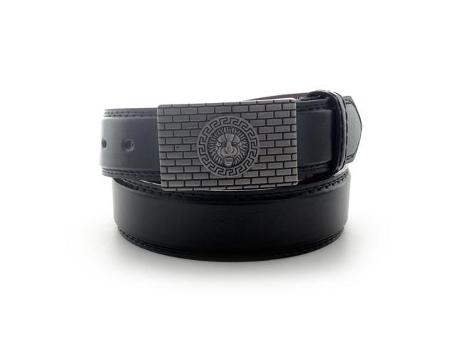 Faddism Men's Genuine Leather Belt with Lion Head Plate Buckle - Black Large