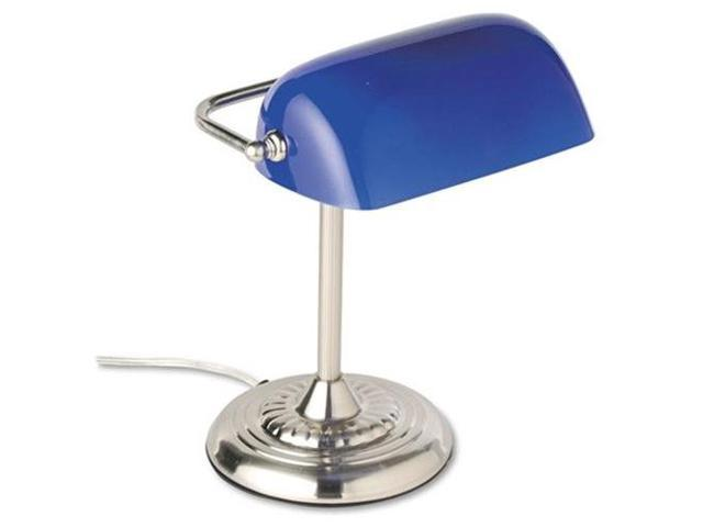 "Traditional Incandescent Banker'S Lamp, Blue Glass Shade, 14""H, Chrome"