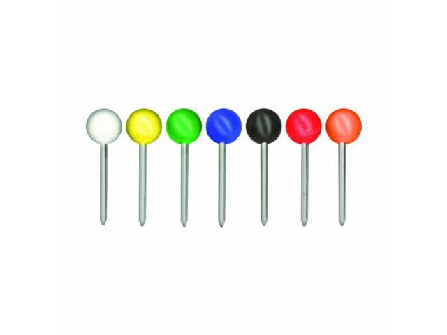 Gem Office Products- LLC. GEMMTA250 Round Map Tacks- .19in. head- .38in. Long- Assorted