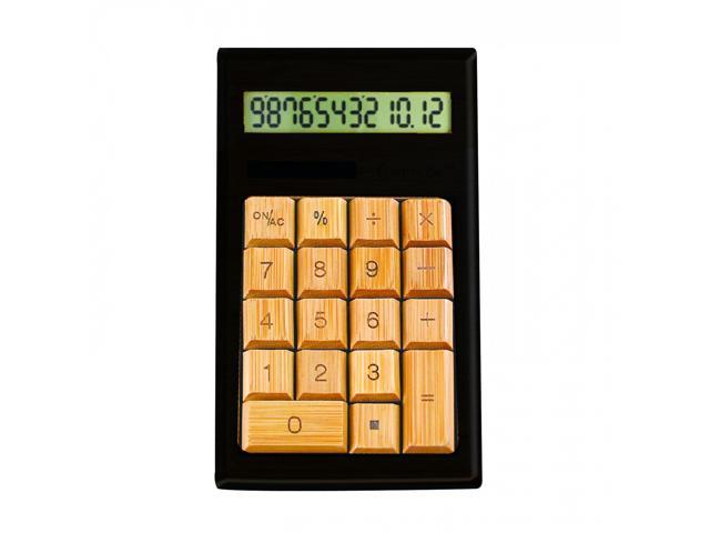 12-Digits BambooCustom Carved Desktop Calculator - Black/Ivy