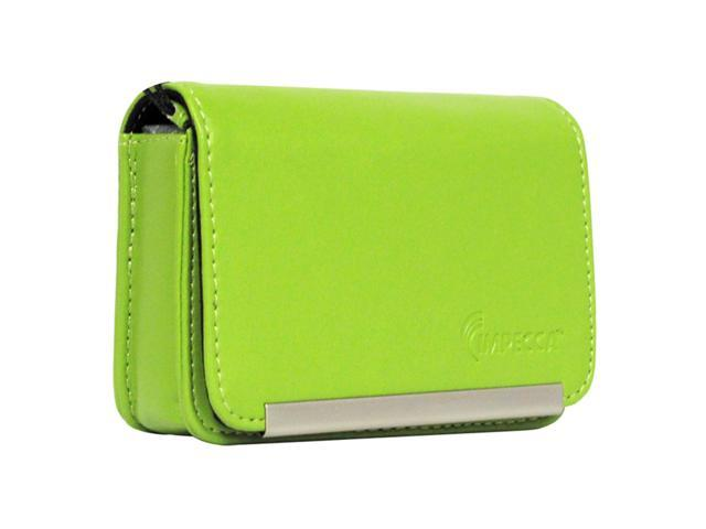 Compact Leather Digital Camera Case - Lime