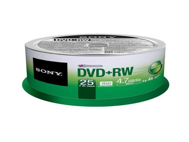 Sony DVD Rewritable Media - DVD+RW - 4x - 4.70 GB - 25 Pack Spindle