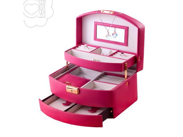 Aguchi Royalty Jewelry Collection Box with Lock (Deep Pink)