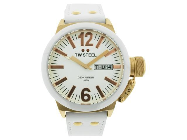 TW Steel CEO Canteen 45MM White Dial White Leather Strap Mens Watch CE1035