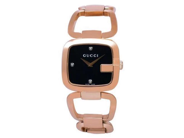 Gucci G Black Diamond Dial Rose Gold-tone Ladies Watch YA125409