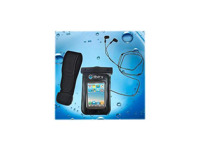 iBdry Waterproof Case for iPhone, Blackberry, Droid and other smartphone devices with Waterproof Earphones & Armband - Black