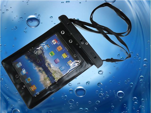 iBdry Waterproof iPad & Tablet Case With Shoulder Strap & Dual Sided Earphone Jack - Black