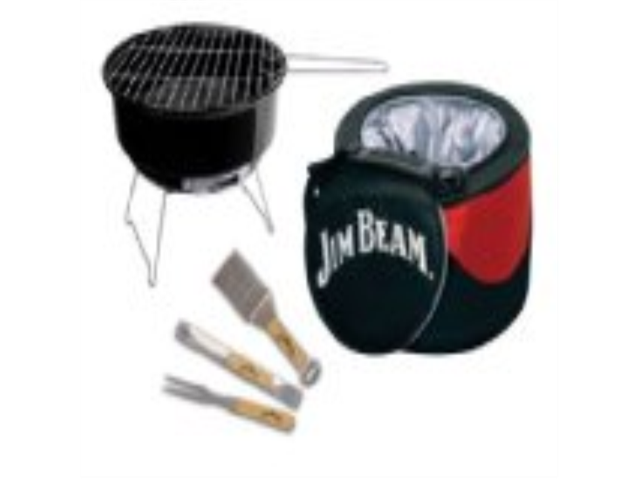 Jim Beam JB0105 5-Piece Mini Cooler & Grill combo Set with BBQ tools