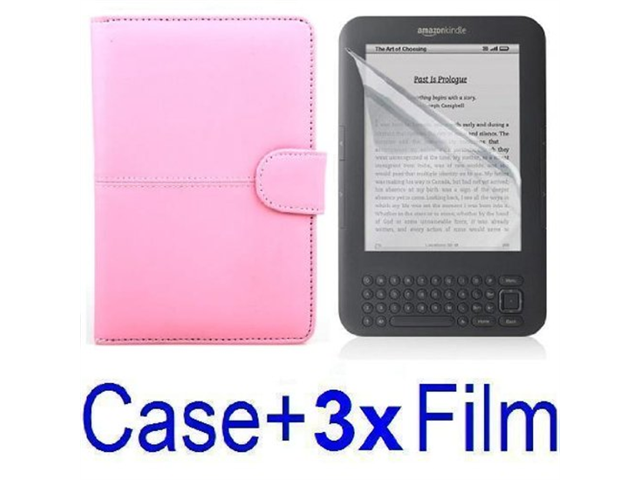 Pink Leather Case Cover for Amazon Kindle 3 Ebook Reader + 3x SCREEN PROTECTOR