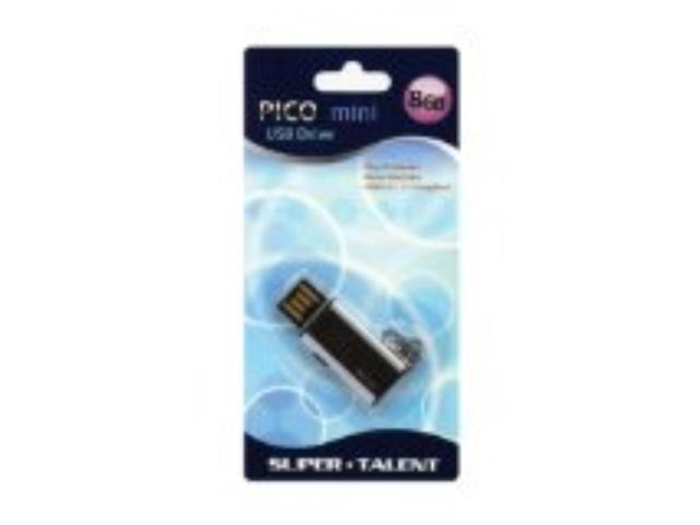 Super Talent Pico Mini-C 8GB USB 2.0 Water Resistant Flash Drive, Black (STU8GMCK)