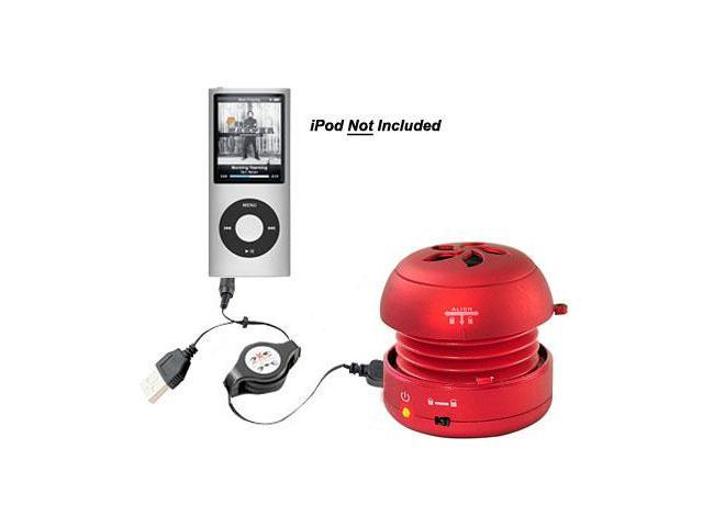 New PYLE PMS2R Portable Red Mini Speaker for iPod/MP3