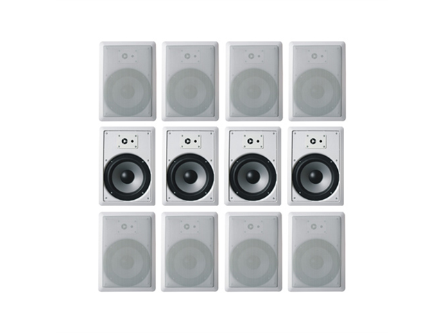 "Acoustic Audio CS-IW820 In Wall 8"" Speakers 6 Pair Pack 2 Way Home Theater 3600 Watt New CS-IW820-6Pr"