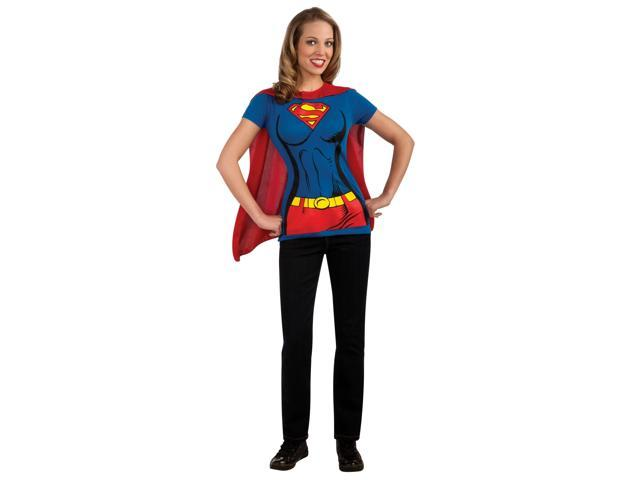DC Supergirl T-Shirt & Cape Costume Kit Adult Medium