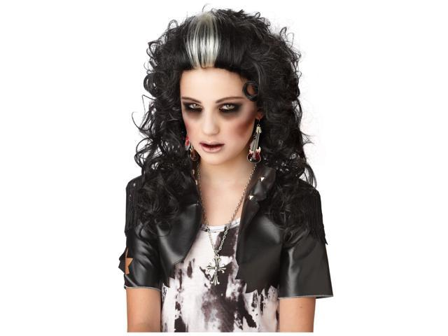 Rocked Out Zombie Black & White Adult Costume Wig