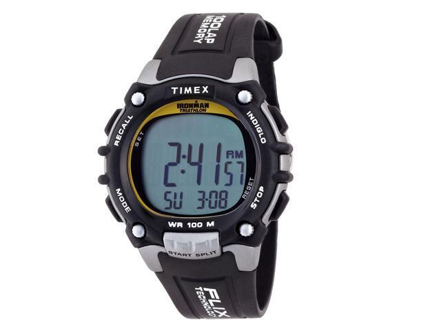 Timex Mens Ironman 100-Lap Full Sz Gray Black Digital Sport Running Watch T5E231