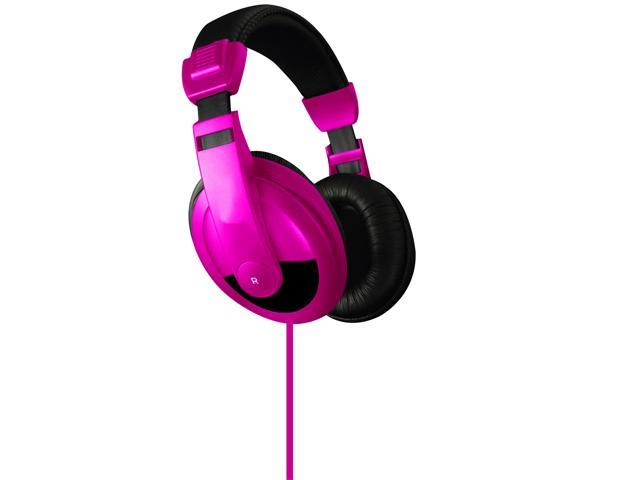 Vibe Sound DJ Style Stereo Over Ear Headphones All Devices with 3.5mm Pink
