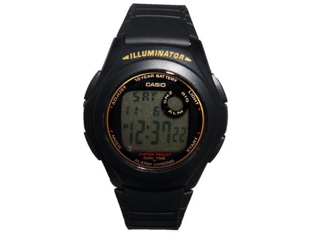 Casio F200W-9A Men's Illuminator Digital Sports Watch w/ Black Resin Band