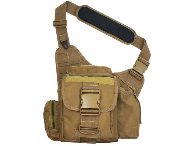 Every Day Carry Tactical Messenger Side Sling Shoulder Bag w/Pistol Pocket - Tan
