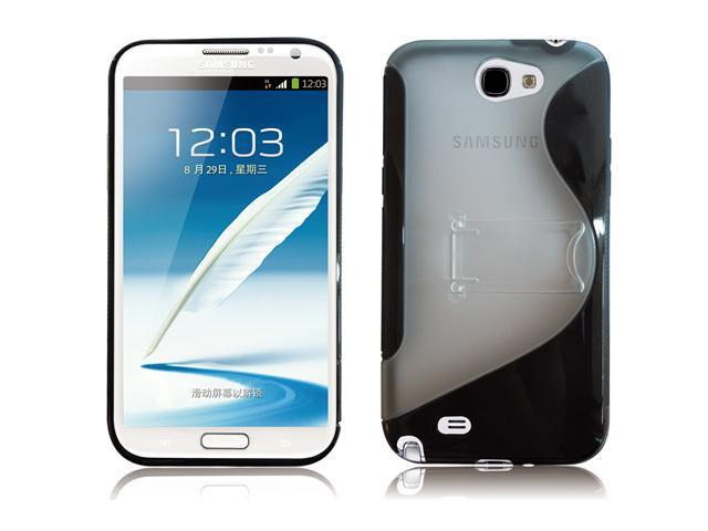RND PC+TPU Protective Case for Samsung Galaxy Note II(2) (with Kickstand/Black/Transparent Clear)