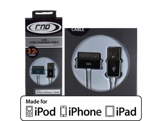 RND Apple CERTIFIED 30-Pin Cable for iPad  iPhone  iPod (3.2 Feet/Chrome and White)