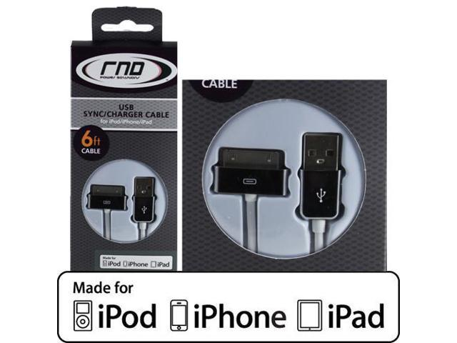 RND Apple CERTIFIED 30-Pin Cable for iPad  iPhone  iPod (6 feet/Chrome and white cable)