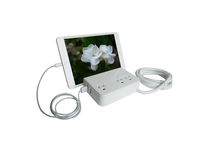 RND Desktop Charging Station with 3 AC Plugs and 3 USB ports Surge Protector for iPhone  Samsung Galaxy  and more  with a slot for iPads and Tablets.