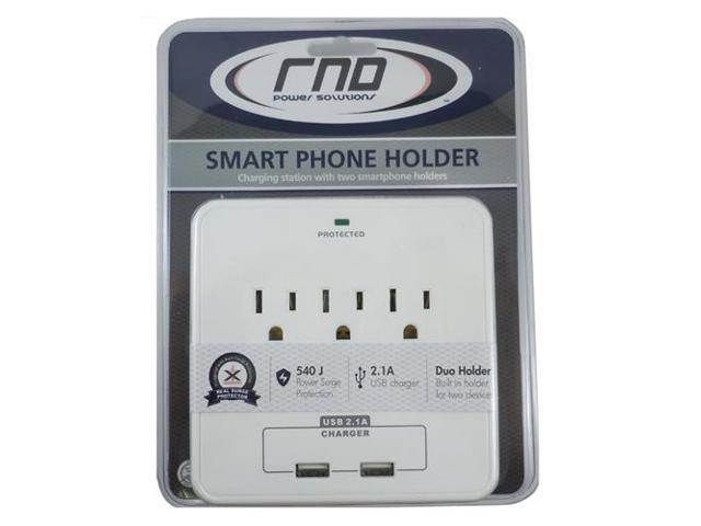 RND Wall Power Station 3 AC Plugs and 2 USB ports with Surge Protection