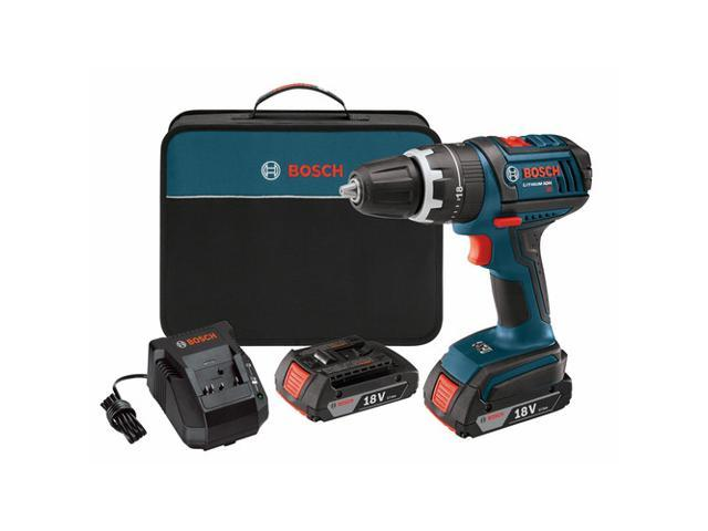 BOSCH DDS181-02-RT 18V Cordless Lithium-Ion Compact Tough 1/2 in. Drill Driver with 2 Slim Pack HC Batteries