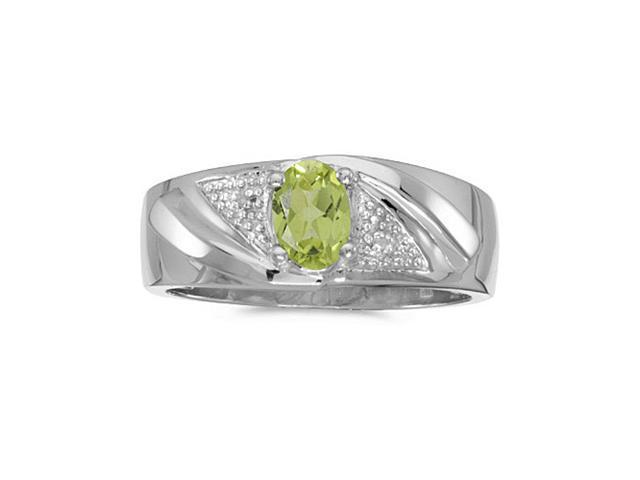 14k White Gold Oval Peridot And Diamond Gents Ring